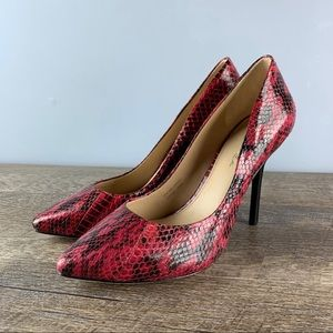 Via Spiga Red Python Leather Pointed Toe Pumps